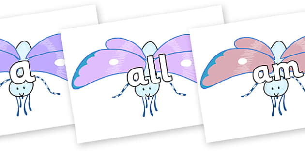 Foundation Stage 2 Keywords on Blue Butterfly to Support Teaching on The Crunching Munching Caterpillar - FS2, CLL, keywords, Communication language and literacy,  Display, Key words, high frequency words, foundation stage literacy, DfES Letters and