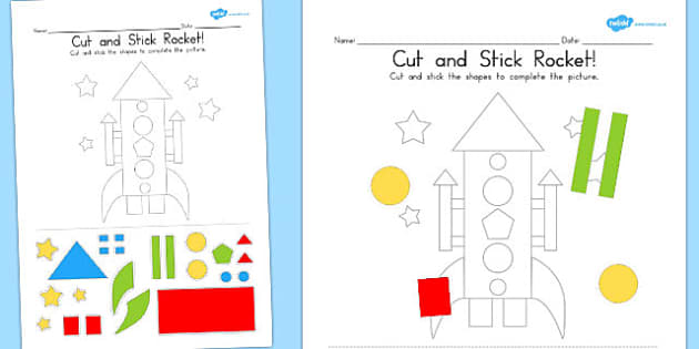 Cut and Stick Rocket - Rockets, Activity, Activities, Crafts