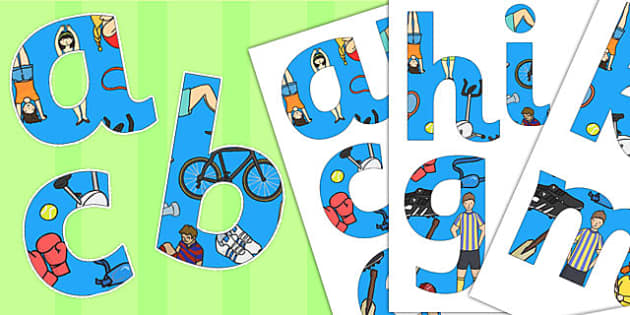 Sports Themed Paper Saving Display Alphabet Numbers and Symbols