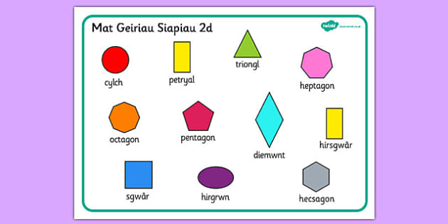 Mat Geiriau Siapiau 2D - 2D Shape Word Mat, Welsh, word mat, mat, writing aid, Wales, 2D, shape, words, octagon, pentagon, shapes,cymru