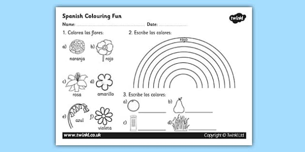 Spanish Colouring Activity Worksheet - worksheets, activities