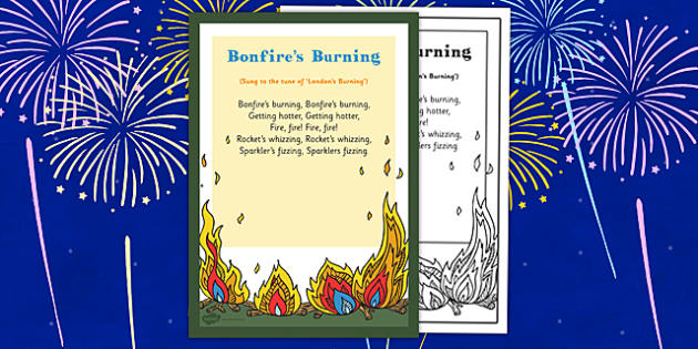 Bonfires Burning Rhyme - bonfires, burning, rhyme, eyfs, early years