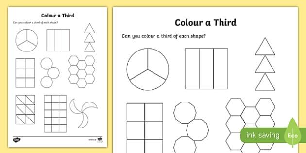 Colour a Third Activity Sheet, worksheet