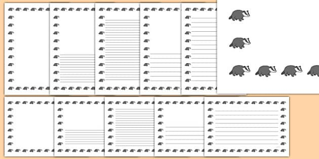 Badgers Themed Page Borders Pack - woodland, animals, forest, UK, britain, badger, woods,