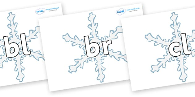 Initial Letter Blends on Snowflakes - Initial Letters, initial letter, letter blend, letter blends, consonant, consonants, digraph, trigraph, literacy, alphabet, letters, foundation stage literacy