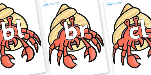 Initial Letter Blends on Hermit Crabs - Initial Letters, initial letter, letter blend, letter blends, consonant, consonants, digraph, trigraph, literacy, alphabet, letters, foundation stage literacy