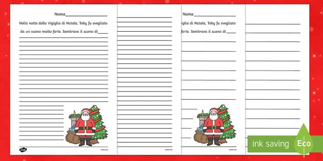 Inizio Storia di Natale Modello scrittura - storia di Natale, personalizza, righe grandi, righe piccole, corsivo, stampatello, natale, storia di
