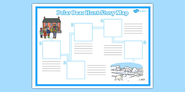 Polar Bear Hunt Story Map Activity Sheet - polar bear, hunt, story, map, activity, sheet, worksheet