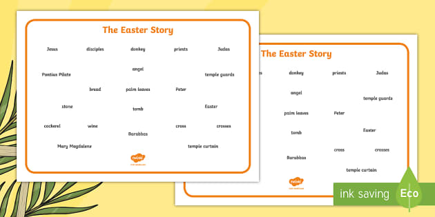 The Easter Story Word Mat (Text) - Easter, word mat, writing aid, Easter teaching resource, Easter Jesus, Easter Sunday, Easter, bible, egg, Jesus, cross, Easter Sunday, bunny, chocolate