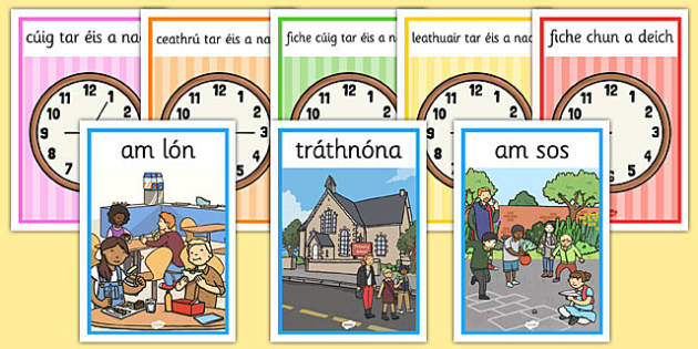 Gaeilge Time and Time related A4 posters - gaeilge, time, related, posters, display