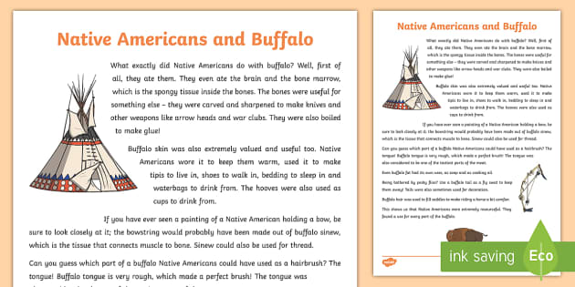 Native Americans and Buffalo Information Sheet-Scottish - Native Americans, buffalo, history,Scottish