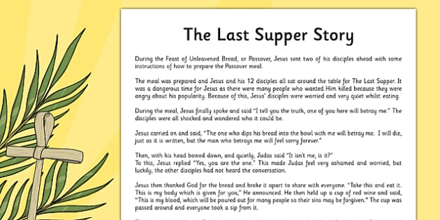 The Last Supper Story Sheet - christianity, christian, religion