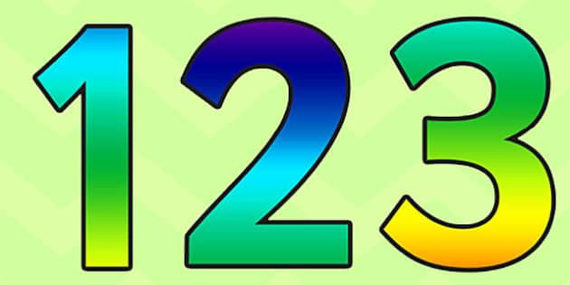 Rainbow Alphabet Display Numbers - rainbow, alphabet, display, numbers, display numbers, numbers for display, cut out numbers, numbers 0-9, numeracy
