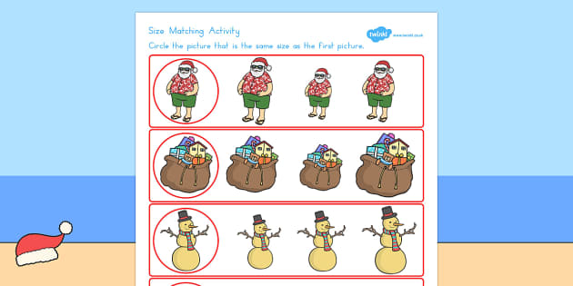 Christmas Themed Size Matching Worksheet - australia, christmas
