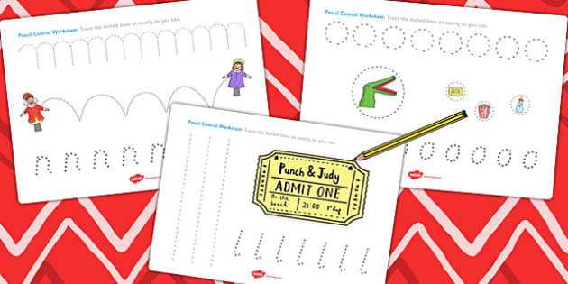 Punch and Judy Pencil Control Sheets - pencil, control, worksheet
