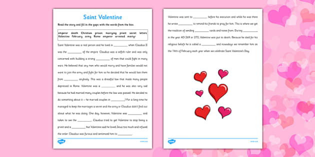 Saint Valentine Cloze with Word Bank Activity Sheet - Saint Valentine, cloze activity, solutions, history, Valentine's Day, reading, worksheet
