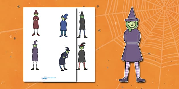 Editable Halloween Witches (Small) - Editable Halloween Witches, witches, small, display, poster, Halloween, pumpkin, witch, bat, scary, black cat, mummy, grave stone, cauldron, broomstick, haunted house, potion, Hallowe'en