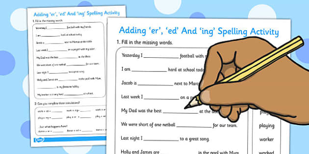 Adding er ed and ing Spelling Activity - spelling, activity
