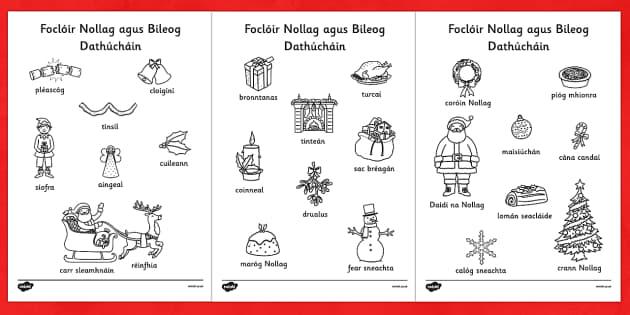 Foclóir Nollaig agus Bileog Dathúcháin Gaeilge - gaeilge, christmas, words, colouring, sheets