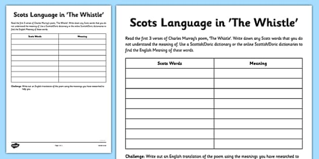 Charles Murray The Whistle Poem Activity Sheet - cfe, charles murray, scots, poem, poetry, the whistle, activity sheet, worksheet