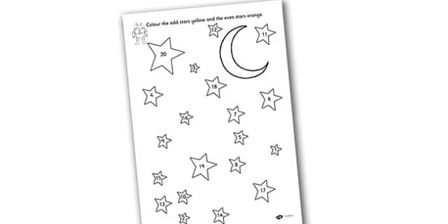 Odd and Even Colouring Stars to Twenty - Odd, even, pattern, star, numbers to 20, even, odd and even, colouring, colouring sheet, colouring worksheet, 0-20, colouring stars, odd and even worksheet