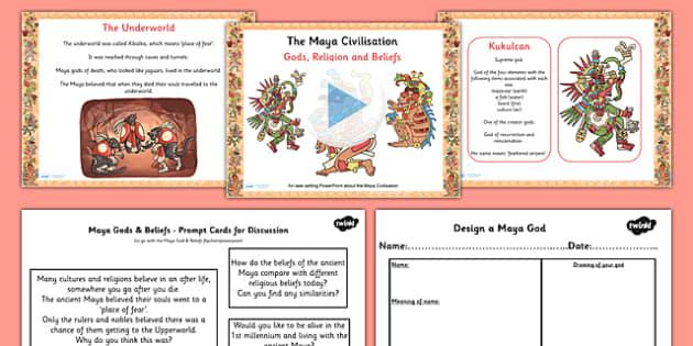Mayan Civilization Gods Beliefs Lesson Teaching Pack PowerPoint