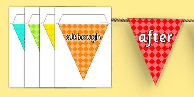 Conjunctions on Bunting Multicolour - display, connectives