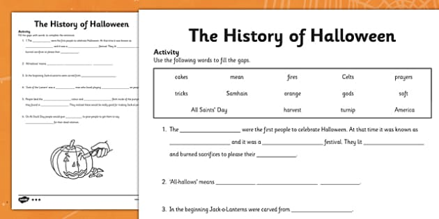 The History of Halloween Cloze Activity Differentiated - roi, republic of ireland, ireland, history, halloween