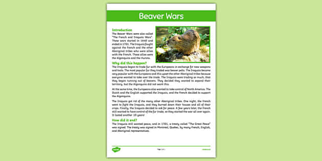 Beaver Wars Fact Sheet - Aboriginal, Canada, Native, Algonquin, Iroquois, European, Beaver War, Beaver Wars, First Nations, Iroquois War, Iroquois and French War