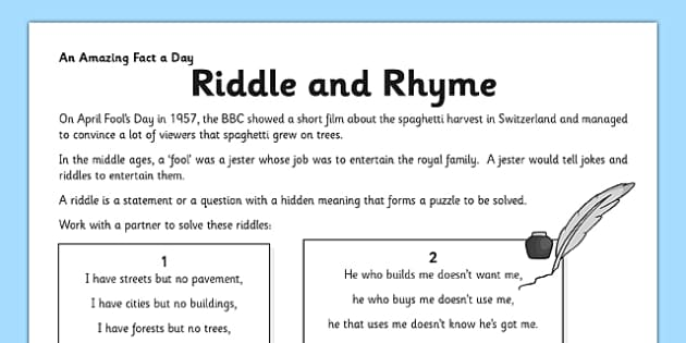 Riddle and Rhyme Activity Sheet - riddle, poem, rhyme, activity, worksheet