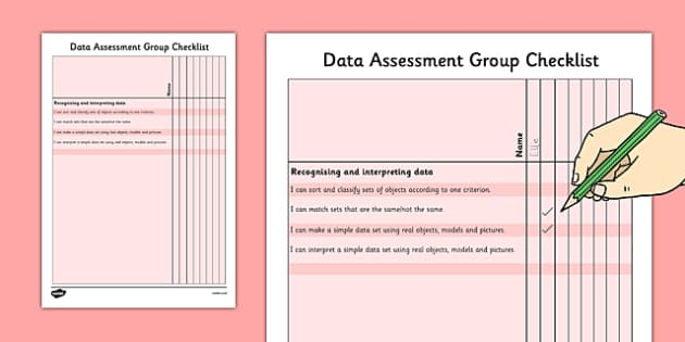 1999 Curriculum Junior Infants Data Assessment Group Checklist - roi, irish, gaeilge, assessment, checklist, maths, junior infants, data