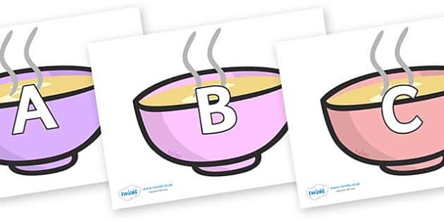 A-Z Alphabet on Bowls - A-Z, A4, display, Alphabet frieze, Display letters, Letter posters, A-Z letters, Alphabet flashcards