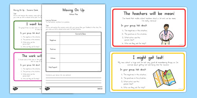 Transition to Middle School Scenario Cards Activity Pack
