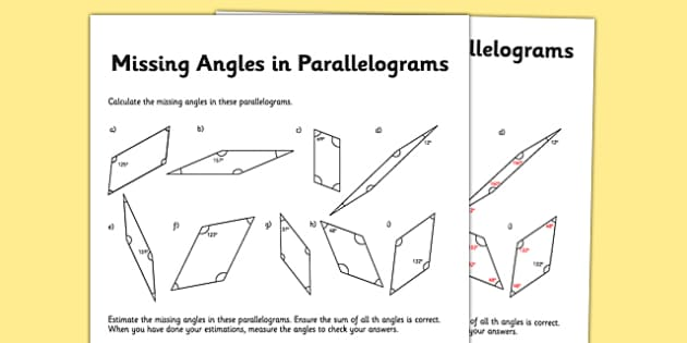 Calculating Angles in Parallelograms Activity Sheet - calculating, angles, parallelograms, activity sheet, worksheet