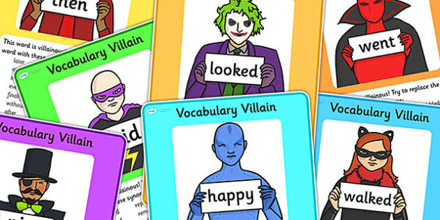 Vocabulary Villain Words Display Poster Pack - vocabulary, poster