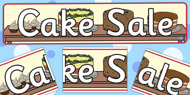Cake Sale Display Banner - cake, sale, display banner, display