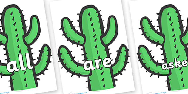 Tricky Words on Cactus - Tricky words, DfES Letters and Sounds, Letters and sounds, display, words