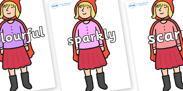 Wow Words on Red Riding Hood to Support Teaching on The Jolly Christmas Postman - Wow words, adjectives, VCOP, describing, Wow, display, poster, wow display, tasty, scary, ugly, beautiful, colourful sharp, bouncy