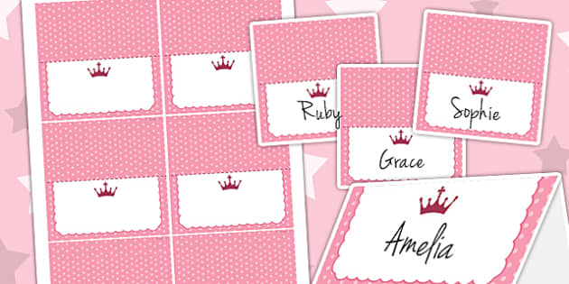 Princess Themed Birthday Party Place Names - traditional tales