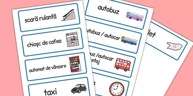 În stația de autobuz - Cartonașe cu imagini și cuvinte