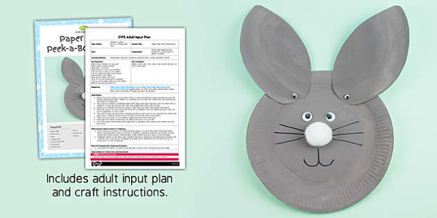 Paper Plate Peek-a-Book Bunny EYFS Adult Input Plan and Resource Pack - adult led, bunny