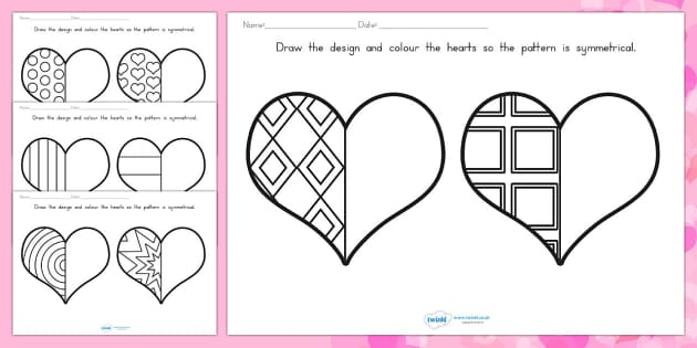 Valentine's Day Heart Symmetry Sheets - valentines day, symmetry