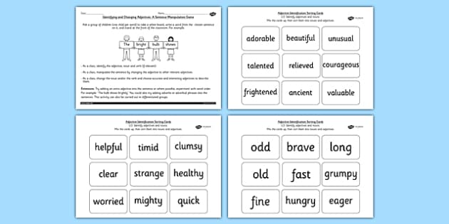 Identifying an Adjective in a Sentence SPaG Lesson Teaching Pack