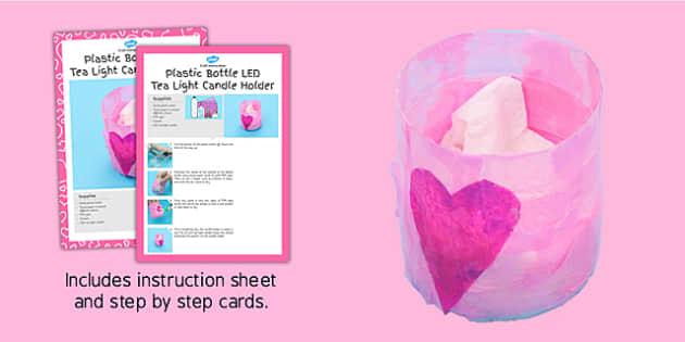 Plastic Bottle LED Tea Light Candle Holder Craft Instructions - candle, craft, led, plastic bottle, holder, instructions