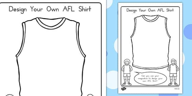 Design Your Own AFL Shirt Activity - australia, sport, design, clothing, colouring, early years, KS1, KS2,