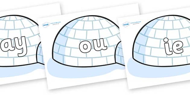 Phase 5 Phonemes on Igloos - Phonemes, phoneme, Phase 5, Phase five, Foundation, Literacy, Letters and Sounds, DfES, display