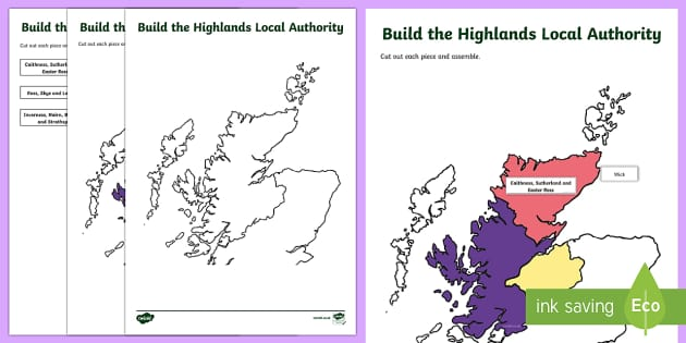 Highlands Local Authority Jigsaw Map-Scottish - Requests CfE, map, Highlands, Scottish maps, jigsaw map, Highland council,Scottish