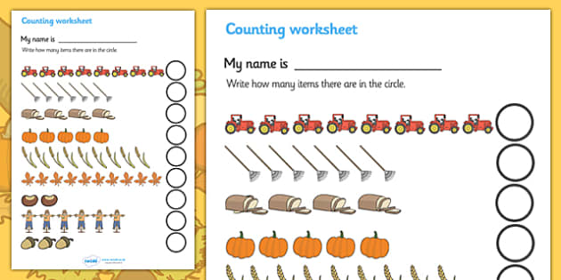 My Counting Worksheet (Autumn) - Counting worksheet, autumn, counting, activity, how many, foundation numeracy, counting on, counting back,  harvest, harvest festival, fruit, apple, pear, orange, wheat, bread, grain, leaves, conker
