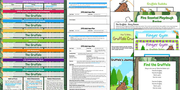 EYFS Lesson Plan Enhancement Ideas and Resources Pack to Support Teaching on The Gruffalo - The Gruffalo, continuous provision, pack