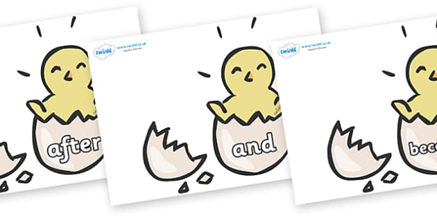 Connectives on Hatching Chicks - Connectives, VCOP, connective resources, connectives display words, connective displays